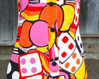 60s vtg las vegas amazing print cotton  dress
