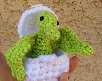Pterodactyl Amigurumi Toy with Egg - Dinosaur in Egg - Dinosaur Play set - Stocking Stuffer - Geek Gift - Science Toy - Custom Colors