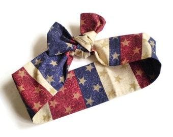 USA Colors Head Scarf, Stars and Stripes Head Scarf,  Stars Stripes Head Wrap, Patriotic Head Scarf