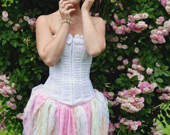 Pixie Lace tattered point skirt costume pastel shabby gypsy boho belly dance EDC -- You choose size - Enchanted