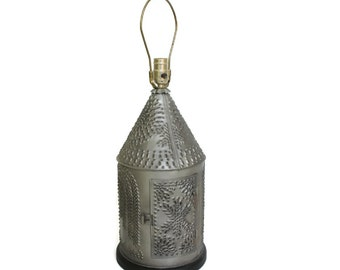 Punched Tin Lantern Table Lamp with Weeping Willow Colonial Design