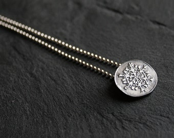 Sterling silver snowflake necklace  -  Wilson Bentley's snowflakes