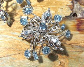 Blue Rhinestone Earrings Brooch VINTAGE Flower Brooch and Screwback Earrings Demi Parure Set Silver Blue Rhinestone Vintage Jewelry (S52)
