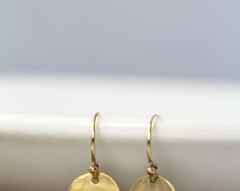 Gold Earrings, Dainty Dot Earrings, Hammered, Small Simple Everyday Earrings, Gold Circles, 18k Gold Fill