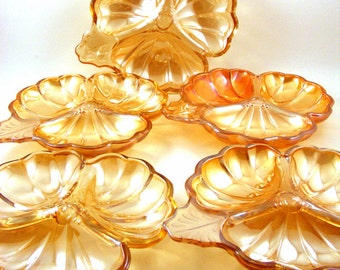 Marigold Carnival Glass Clover Snack Dishes, Jeanette Doric Peach, Orange Luster, Divided Candy Nut Dish, Vintage Party Plates, Set of 5