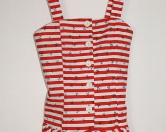SALE Nautical Peplum Tank with Red and White Stripes and Anchors XXS