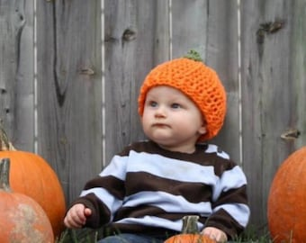 Cotton pumpkin beanie for baby boy or girl