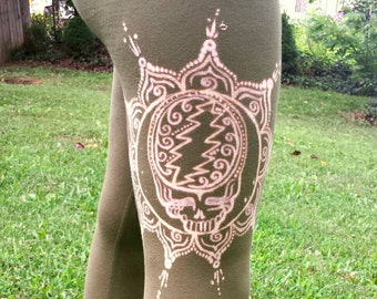 Grateful Dead - Steal Your Face Lotus Flower Mandala - Hand Painted Hippie Leggings - MADE TO ORDER