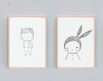 Art Print Set of 2, Black and White Nursery Prints, Black and White Animal Art, Monochromatic Nursery, Bunny Rabbit Kids Art