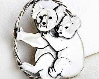 Koalas Sterling Silver Pin