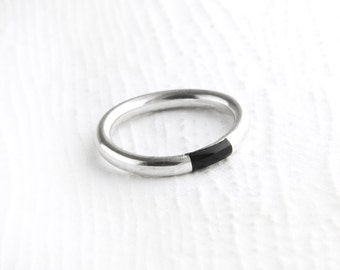 Simplistic Black Onyx Sterling Silver Ring