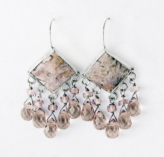 Pink Agate Treasure Sterling Silver Earrings