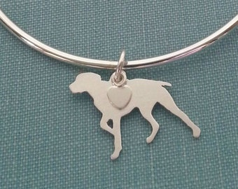 German Shorthaired Pointer Bangle Bracelet, Sterling Silver Personalize Pendant, Breed Silhouette Charm, Rescue Shelter, Memorial Gift
