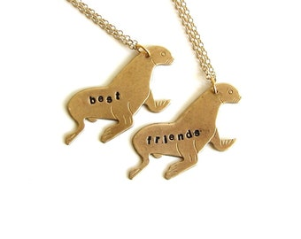 sea lion best friends necklace set . personalized custom jewelry seal necklaces