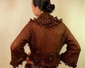 Knit Shrug with Crystal Swarovski, Luxury Crochet Shrug Bolero 3D Flowers Knit Bolero Brown 3/4 Sleeve Bolero,  Evening Bolero Shrug S M L
