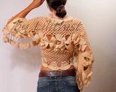 Beige Shrug, Bridal Bolero, Flower Shrug, Crochet Bolero, Crochet Lace Shrug, Crochet Cardigan, Wedding Bridal Shrug Bolero, Evening Shrug