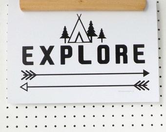 Explore Camping Adventures Print Poster A4 Black