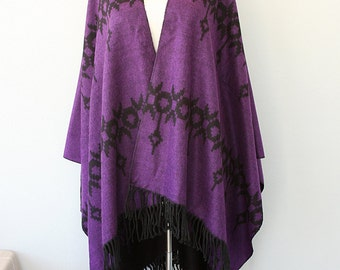 Dark purple poncho Autumn fall fashion Tribal shawl Native outerwear Women ponchos Boho chic cape Bohemian outerwear Winter blanket wrap