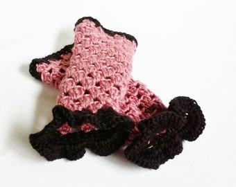 Pink Arm Warmers Fingerless Black and Pink Crochet Gloves with Ruffles , Handmade Knitted Gloves , SALE Was 18.00