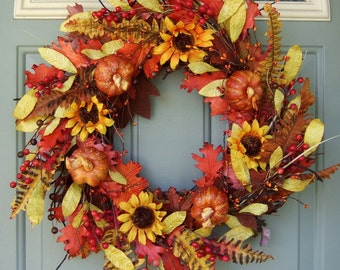 Fall Wreath - Fall/Autumn Wreath - Fall Door Wreath - Sunflower Fall Wreath