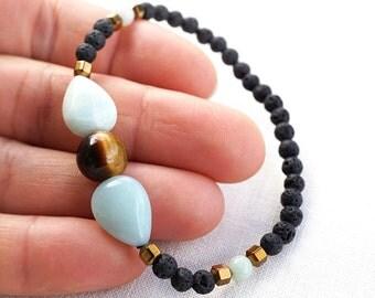Blue Amazonite Tiger Eye Lava Bracelet, Men Bracelet, Santorini Black Lava Stone Bracelet. Natural Stone Bracelet. Tribal Bracelet