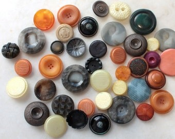 40 Vintage Buttons // Mixed // 40s 50s 60s //  New Old Stock Buttons // Assorted Sample Pack // Destash  // BD107