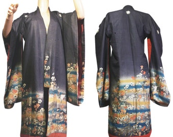 Antique Japanese Kimono. Child's Formal Furisode. Asian Antique. Meiji - Taisho period, Japan.
