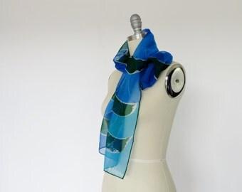Vintage Scarf VERA Scarf / 1960s Scarf / Silk Scarf MOD Designer Scarf Sheer Long Blue Green