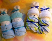 Baby Mine..Set of 2 Diaper Babies..Handmade.. Disposable Diapers, Baby Washcloths, Socks..Girl, Boy, Neutral..Baby Diaper Cake..Baby Shower