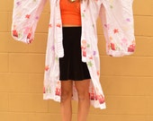Vintage 70s PINK Rainbow Starry Temple KIMONO Robe DUSTER Jacket