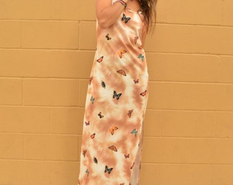 Vintage 90s Butterfly Polyester Grunge Sleeveless Maxi Dress Digital Print