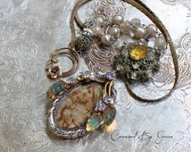 Abide With Me ~ vintage assemblage necklace religious french holy card topaz rhinestone miriam haskell beads rose crowned by grace