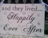 Wedding Sign, REVERSIBLE, Winter, Crystals, Snowflakes, Bling,  Here Comes The Bride, and they lived Happily Ever After