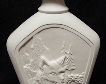 Wolf decanter-ceramic bisque-you paint