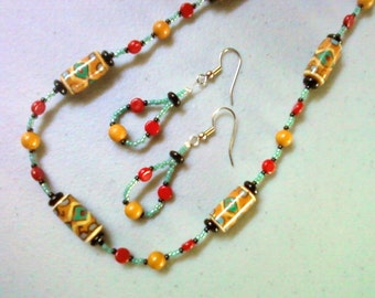 Southwestern Turquoise, Red, Mustard and Black Necklace (0315)