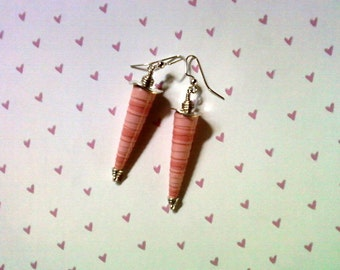 Two Tone Pink Paper Cone Earrings (2205)