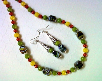 Orange, Yellow, Lime Green and Black Necklace and Earrings (2218)
