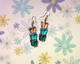 Pink, Aqua and Teal Butterfly Earrings (2227)
