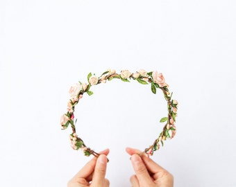 garden wedding floral hair wreath // peach flower crown, wedding headpiece, bridal party shower, woodland whimsical nature