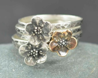 Forget Me Not Flower Rings, Sterling Silver & Bronze Flower Rings, Metalsmith Jewelry
