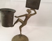 Vintage Brass Dancing Lady Matchstick and Match Holder