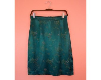 Vintage Emerald Green Cherry Blossom Print Skirt