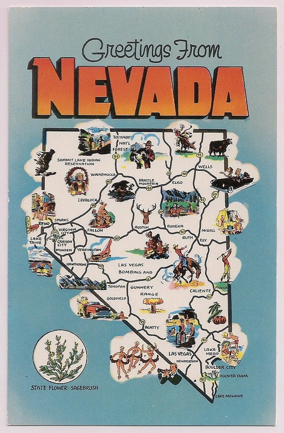 Nevada Map Postcard Retro Tourist Map Souvenir by VintagePackRat – Nevada Tourist Attractions Map