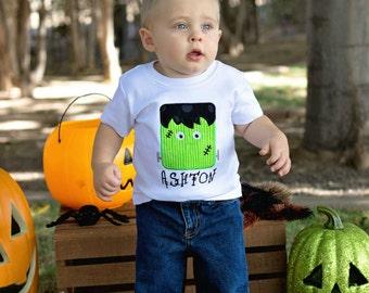 Halloween Shirt, Boys Halloween Shirt, Boys Shirt,  Personalized Shirt, Frankenstein Shirt