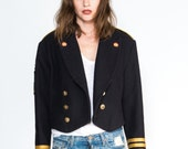 90s military Jacket with patch and  gold buttons