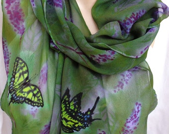 silk scarf Butterfly Bush extra long chiffon hand painted unique sage purple
