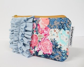 mini ruffle clutch -- midnight flora