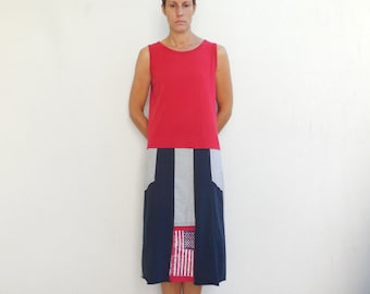 Recycled T-Shirt Dress Tee Dress Summer Dress Red Gray Blue Soft Cotton Dress Fashion Dress Upcycled Repurposed Handmade Dress ohzie