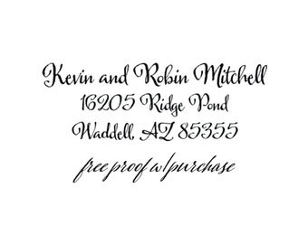 Address Stamp / Wedding Stamp / Calligraphy Script Return Address Stamp Mounted with a Handle or Self-inking (20372) 2 1/2 x 1.