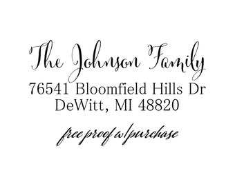 Custom Calligraphy Return Address Stamp.  Mounted with Handle Address Stamp or Self-Inking Address Stamp (20419)  2 1/2 x 1